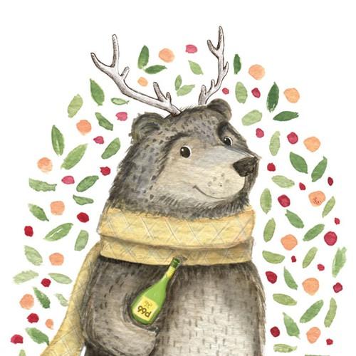 Christmas bear illustration