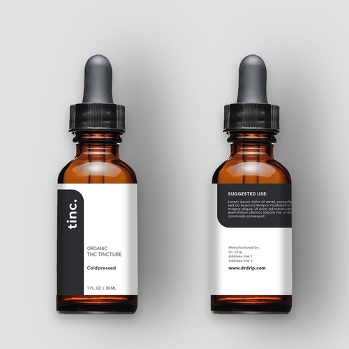Label Proposal for a clean, clinical, and modern looking Cannabis Tincture
