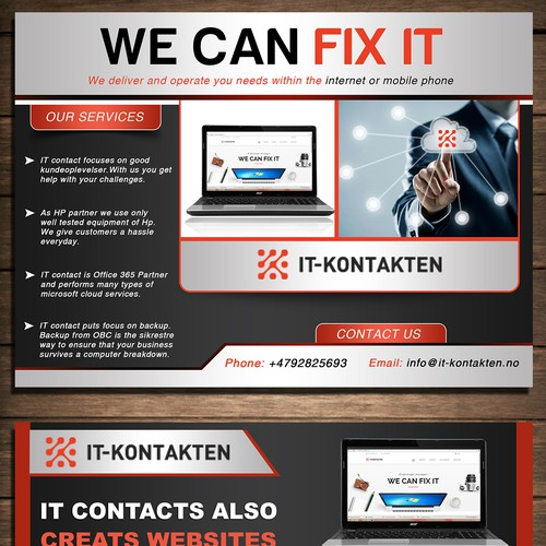 Making a fresh company advertisment postcard IT-Kontakten