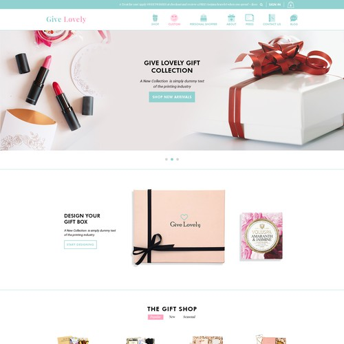 Shopify homepage design