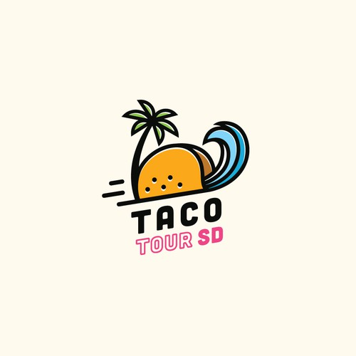 Fun logo for a taco tour brand