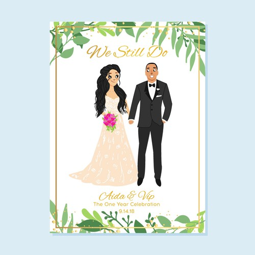Design an Anniversary Card for 1 year Wedding Anniversary Celebration