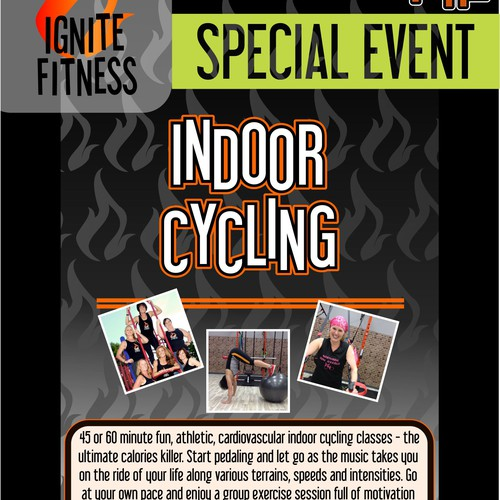 "Creative Exciting class poster for fitness studio that's ""on fire"""