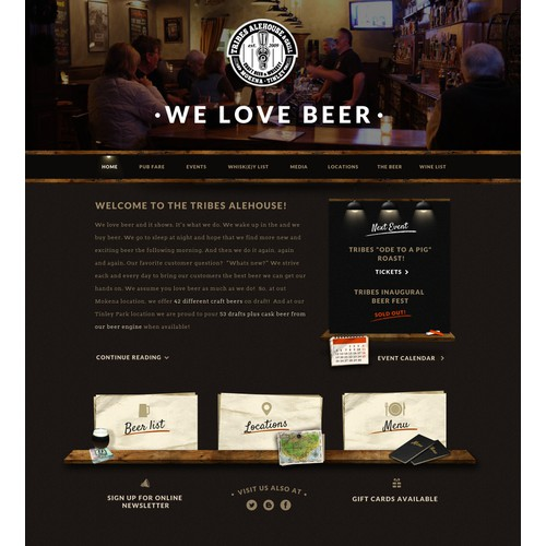 Web design concept for Tribes Alehouse