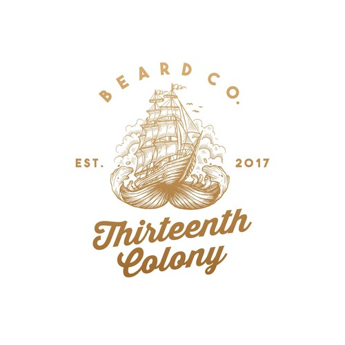 vintage illustration logo for Thirteenth Colony Beard Co.