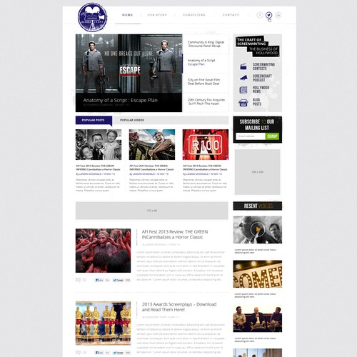 Wanted: Beautiful New Website Design for Hollywood News