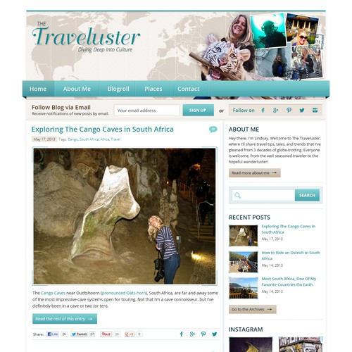 website design for The Traveluster
