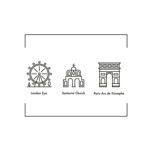 Famous landmarks line illustrations.