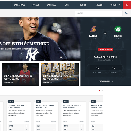 Sports News & Betting Website Design