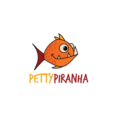 Quirky hand drawn piranha