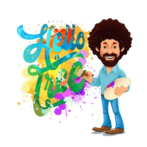 Bob Ross Character Illustration