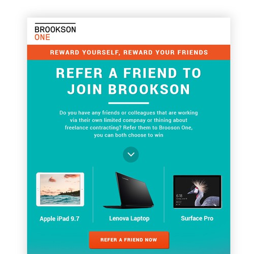 Email design for Refer a Friend tech campaign