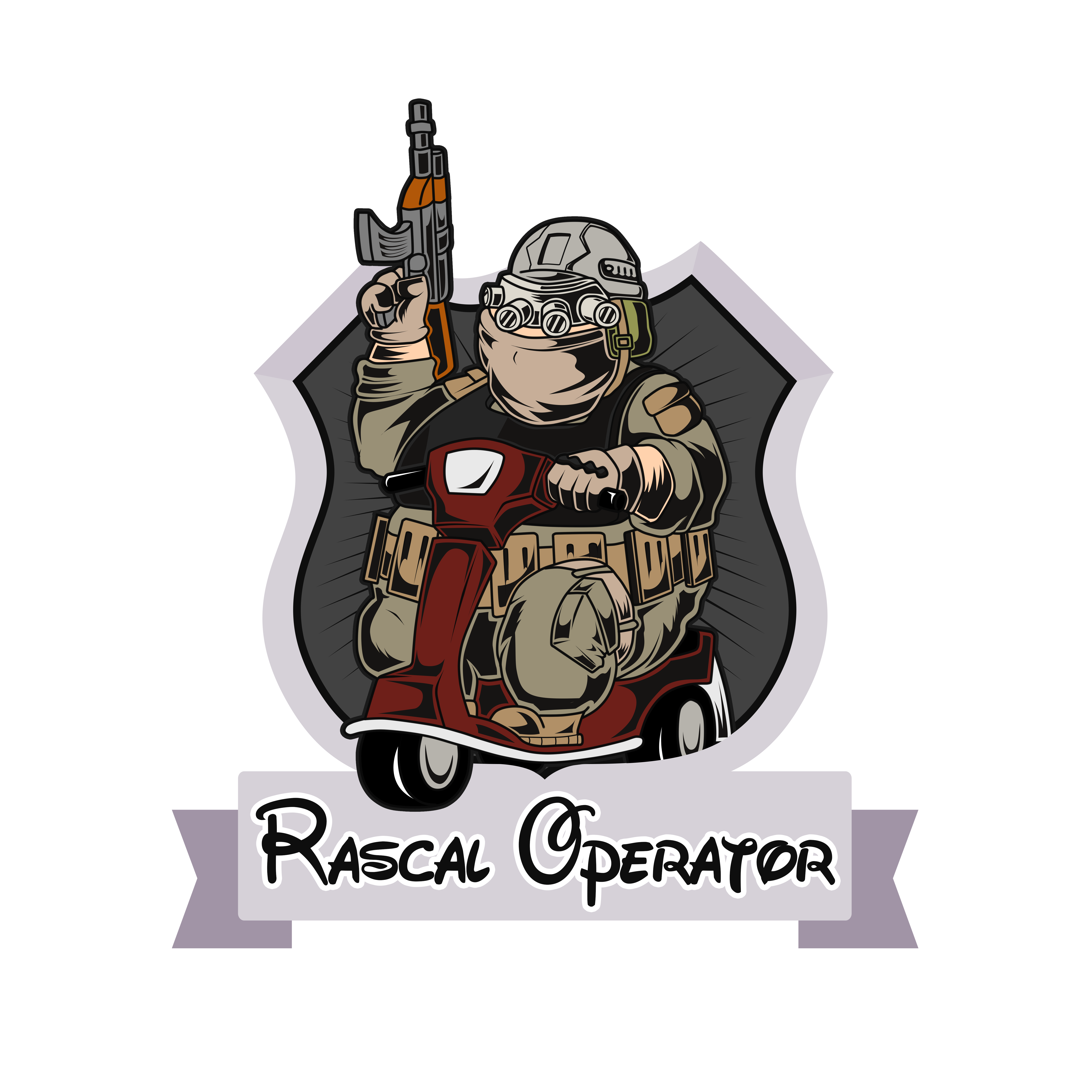 Need a patch design showing an obese person riding a rascal scooter dressed as military operator