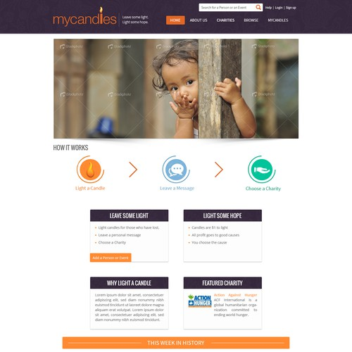 Landing page design for a site created to raise funds for charities