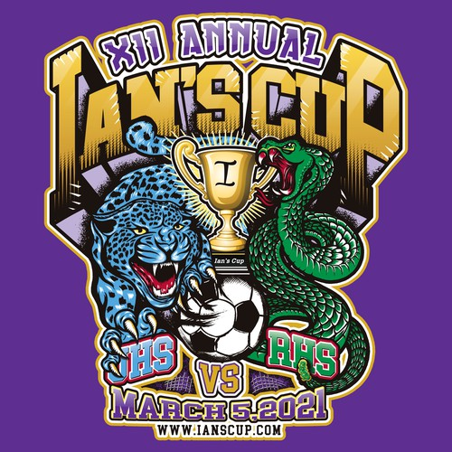 Sports illustration t-shirt design for the Annual Ian's Cup Soccer Match