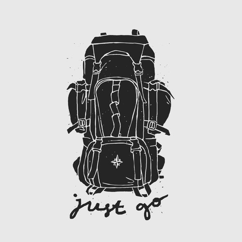 Hand Drawn Outdoor Backpack Illustration.