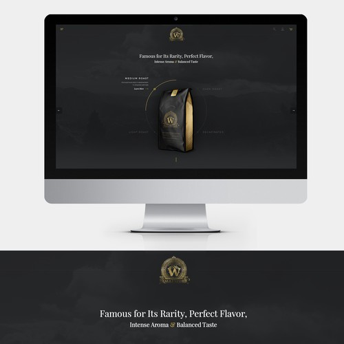 Landing page design for a coffee company