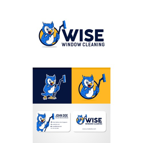 Owl Mascot logo for wise window cleaning
