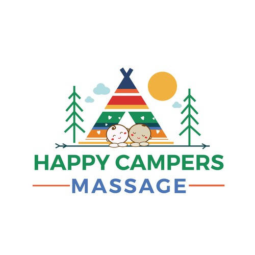 Cute and colorful logo for the Happy Campers Masagge