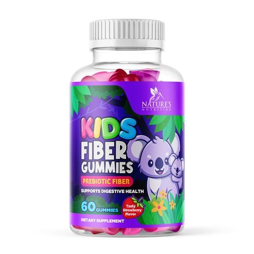 Kids Fiber Gummies Label Design for Nature's Nutrition