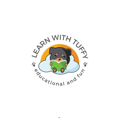 Cute and adorable logo for the company that provide educational and fun disposable placemats for kids.