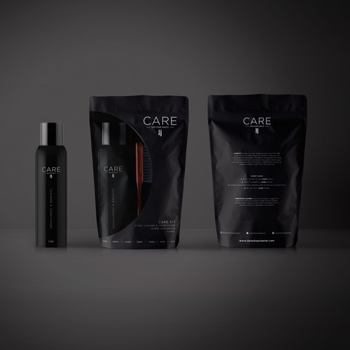 Masculine Dark Packaging Design for Shoe Cleaner Kit