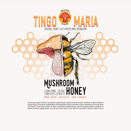 Mushroom Honey Label concept V1