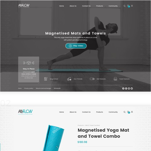Design a sleek, simple, modern, balanced website for a yoga products company