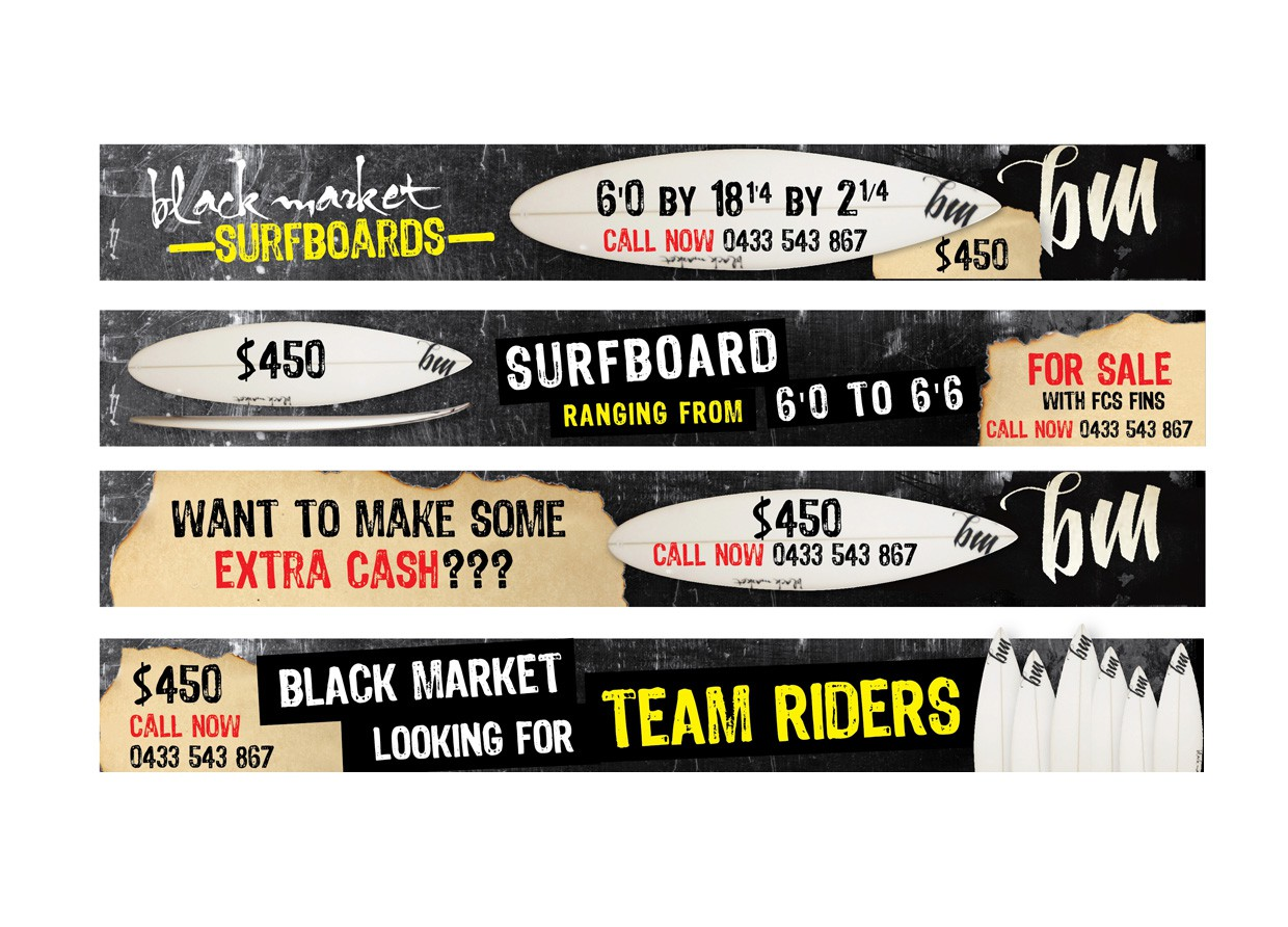 BLACK MARKET SURFBOARDS needs a new banner ad