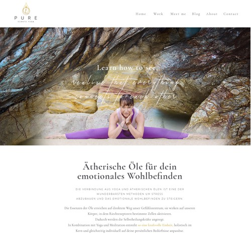 1-1 Project for Pure Scents Yoga - 'Work' page