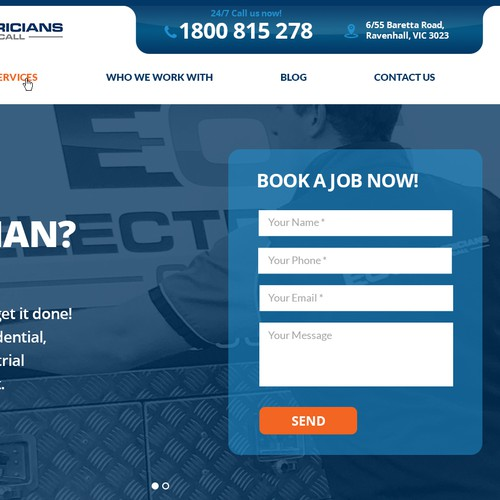Website Header for Electricians On Call