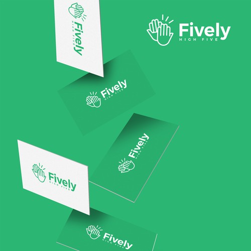 Bold high-five logo for Fively tech startup