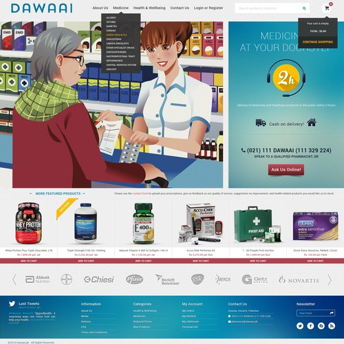 Create an e-commerce design for healthcare and medicine delivery service