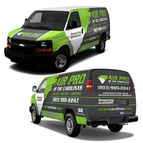 Stand out chevy van wrap design for AIR PRO HVAC company