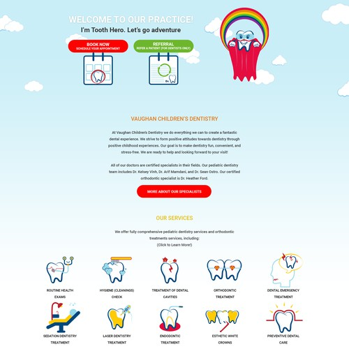 web design concept for children dentistry