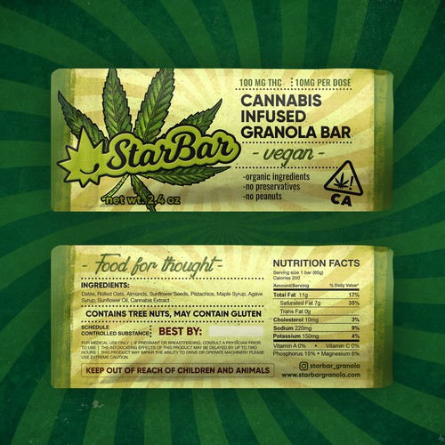 Design for cannabis granola bar
