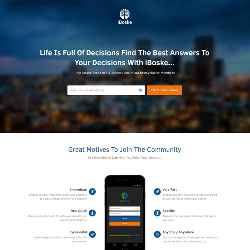 Create the landing page for iBoske!