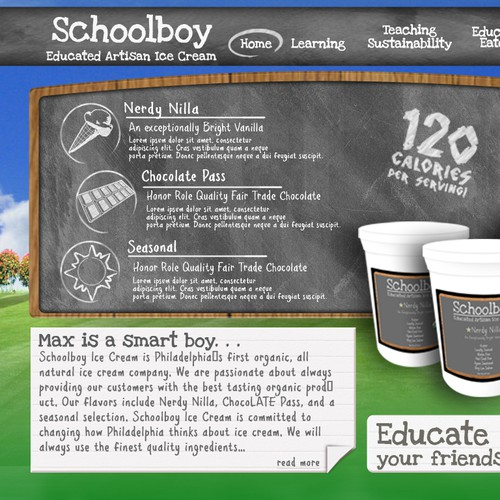Website design for Schoolboy Ice Cream
