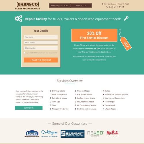 Landing page for fleet maintenance company