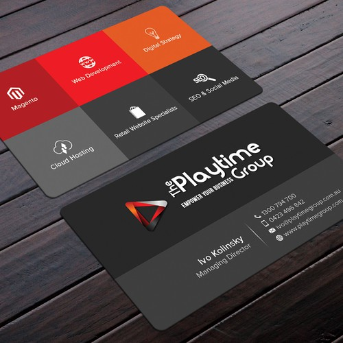 Simple but modern business card for The Playtime Group