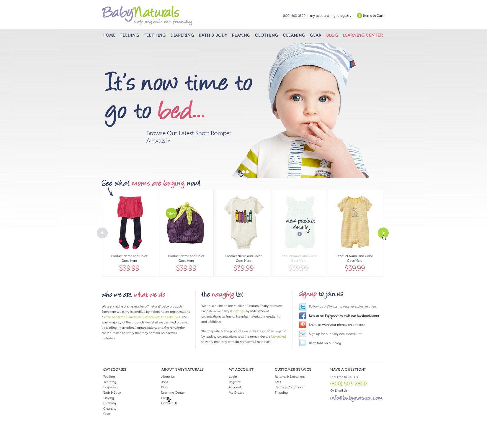 New website design for baby products website