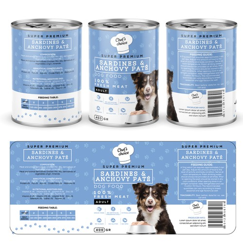 Premium Dog Food Label Design
