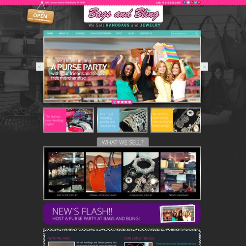 Create a winning homepage web design for Bags and Bling