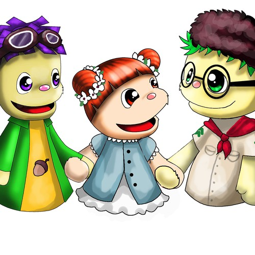 """Design 2 males and 1 female, """"Muppet/Puppet-Style"""" characters, for an animated TV Show for Children"""