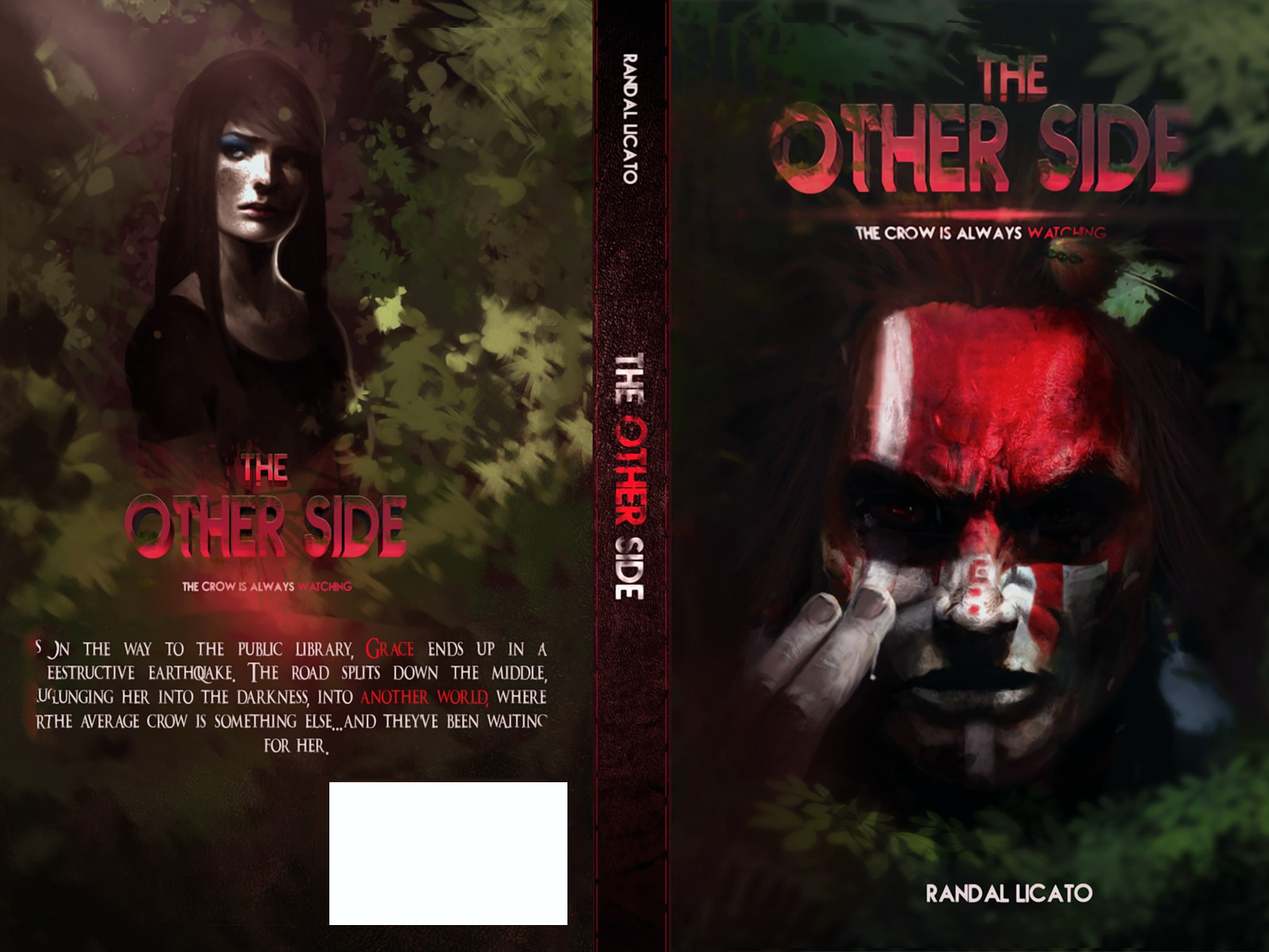 Create a custom, and epic book cover art for a fantasy adventure, called: THE OTHER SIDE