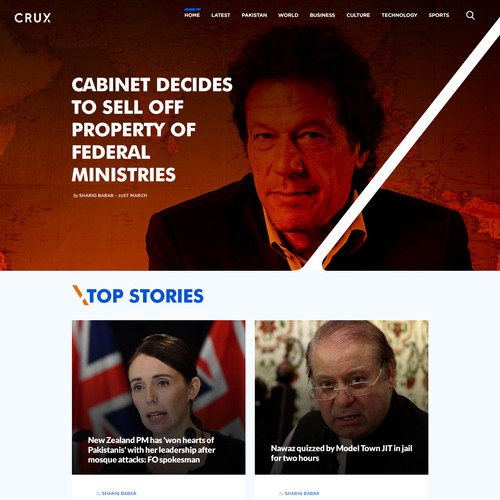 Web Design concept for news website