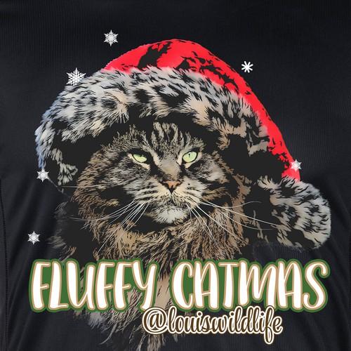 Classic cat christmas t-shirt design.
