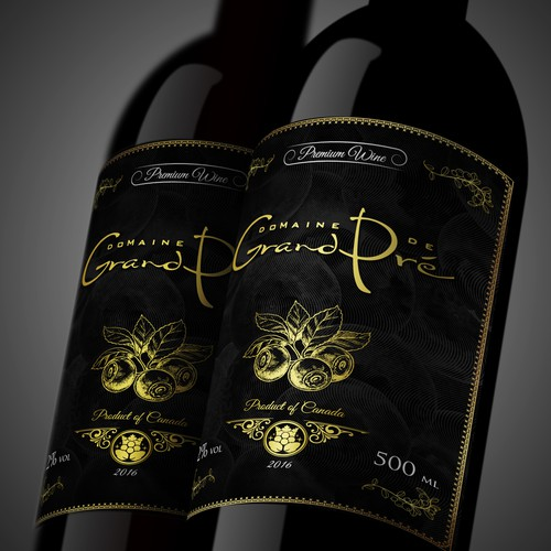 Create a classic, timeless and elegant label for a premium wild blueberry wine