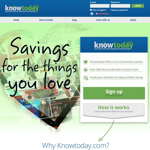Create an engaging landing page for knowtoday.com