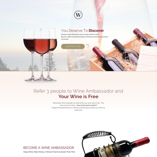 Bold concept wine club landing page